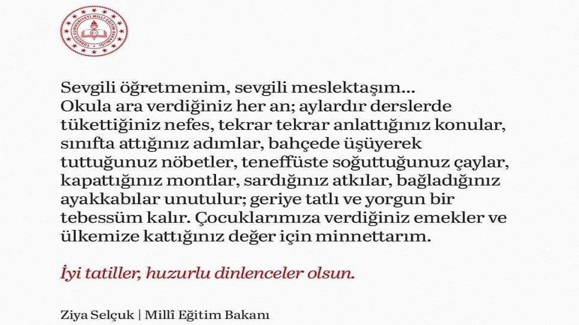 Bakanimizdan Ogretmenlerimize Yariyil Tatil Mesaji Cumhuriyet